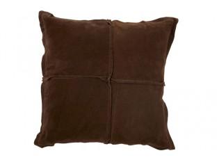 Hnědý kožený polštář s výplní - 45*45cm