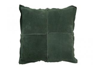 Zelený kožený polštář s výplní - 45*45cm