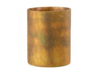 Okrový skleněný svícen s popraskáním - Ø 16*21 cm
