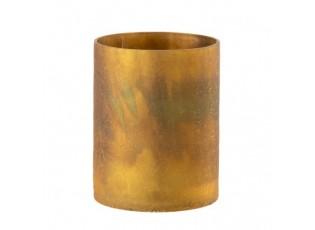 Okrový skleněný svícen s popraskáním - Ø 12*15 cm