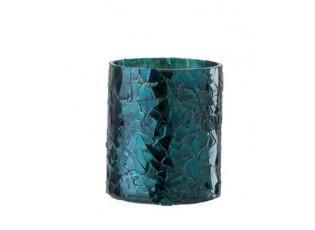 Modrý skleněný svícen - Ø 7*8 cm