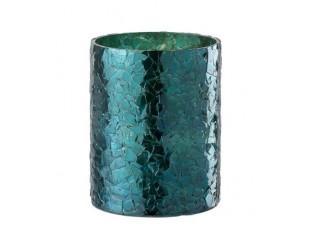 Modrý skleněný svícen - Ø 12*15 cm