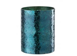 Modrý skleněný svícen - Ø 16*21 cm