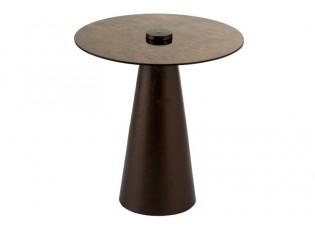 Odkládací kovový stolek se skleněnou deskou - Ø45*48cm