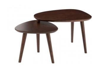 Hnědý dřevěný odkládací dvoustolek - 107*55*45cm