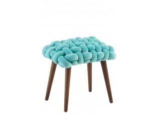 Tyrkysová dřevěná stolička s pleteným sedákem Woven - 45*35*45cm