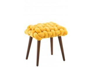 Žlutá dřevěná stolička s pleteným sedákem Woven - 45*35*45cm
