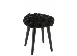 Černá dřevěná stolička s pleteným sedákem Woven - 35*35*45cm