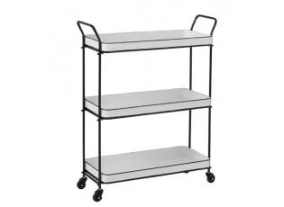 Bílo-černý kovový retro vozík na kolečkách - 76*31*94 cm