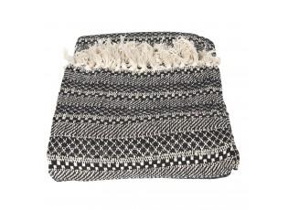 Černo-krémový bavlněný pléd s třásněmi - 125*150 cm