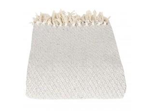 Šedo-krémový bavlněný pléd s třásněmi - 125*150 cm