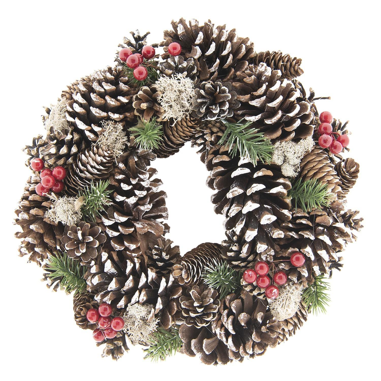 Vánoční věnec se šiškami - Ø 33*8 cm