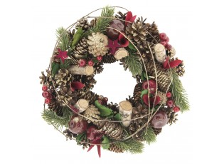Vánoční věnec se šiškami III - Ø 33*8 cm