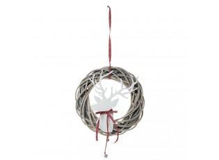 Vánoční závěsný ratanový věnec s Jelenem I - Ø 35*7*50 cm