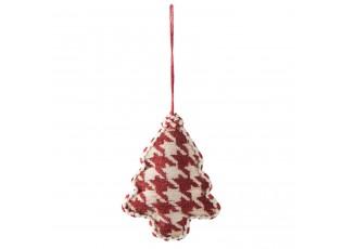 Vánoční červená textilní ozdoba stromek - 9*3*12 cm