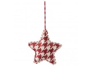 Vánoční červená textilní ozdoba hvězda - 12*3*13 cm