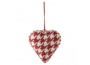 Vánoční červená textilní ozdoba srdce - 12*3*13 cm