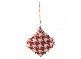 Vánoční červená textilní ozdoba kočotverec -  11*3*11 cm
