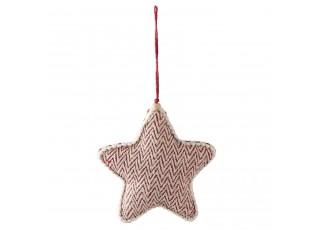 Vánoční červeno-krémová textilní ozdoba hvězda - 12*3*13 cm