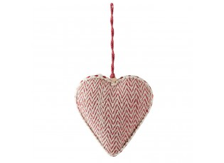 Vánoční červeno-krémová textilní ozdoba srdce - 11*4*11 cm