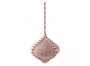 Vánoční červeno-krémová textilní ozdoba - Ø 12*11 cm