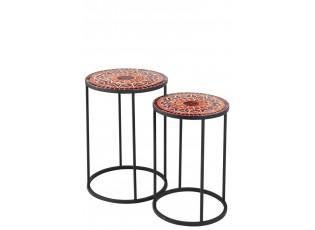 Set kovových odkládacích stolků Square Mosaic Red - Ø35*48 cm