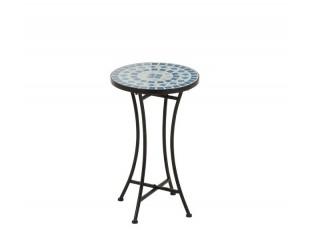 Kovových odkládací stolek Square Mosaic Blue - Ø30*50 cm