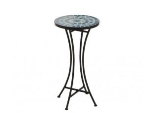Kovových odkládací stolek Square Mosaic Blue - Ø30*60 cm