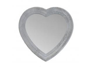 Šedé nástěnné dřevěné zrcadlo srdce - 30*2*30 cm