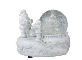 Bílé svítící sněžítko Santa -  11*10*9cm