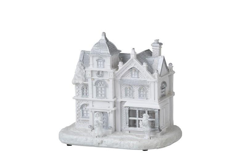 Bílý svítící vánoční domek - 22*16*23cm