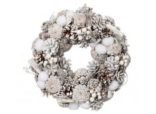 Bílý vánoční věnec se šiškami - Ø 32*7 cm