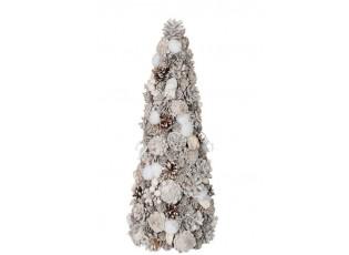 Bílý vánoční stromek se šiškami -  21*21*51cm
