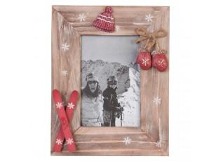 Dřevěný fotorámeček se zimními dekoracemi - 18*23 cm / 10*15 cm
