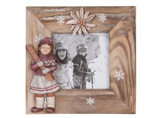 Dřevěný fotorámeček s dekorací lyžařky - 12*12 cm / 7*7 cm