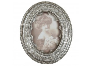 Oválný fotorámeček Antik stříbro - 11*13 cm / 7*9 cm