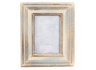 Dřevěný fotorámeček s modrou patinou - 15*2*19 cm / 9*13 cm