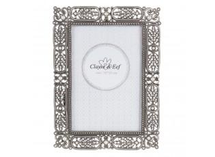 Kovový fotorámeček s perličkami - 14*2*19 cm / 10*15 cm