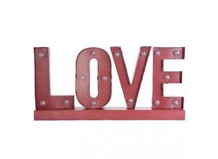 Kovová LED svítící dekorace LOVE - 60*8*30 cm / 2x AA