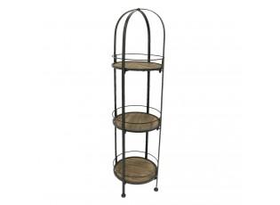 Kovová police s dřevěnými kulatými poličkami - 33*33*122 cm