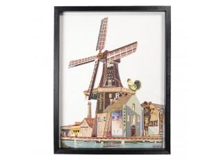 Větrný mlýn Paříž v rámu - 64*4*82 cm