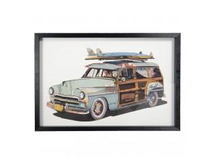 Nástěnný obraz vozu v černém rámu - 90*4*60 cm