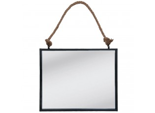 Zrcadlo v černém rámu zavěšené na lanu - 50*4*40 cm