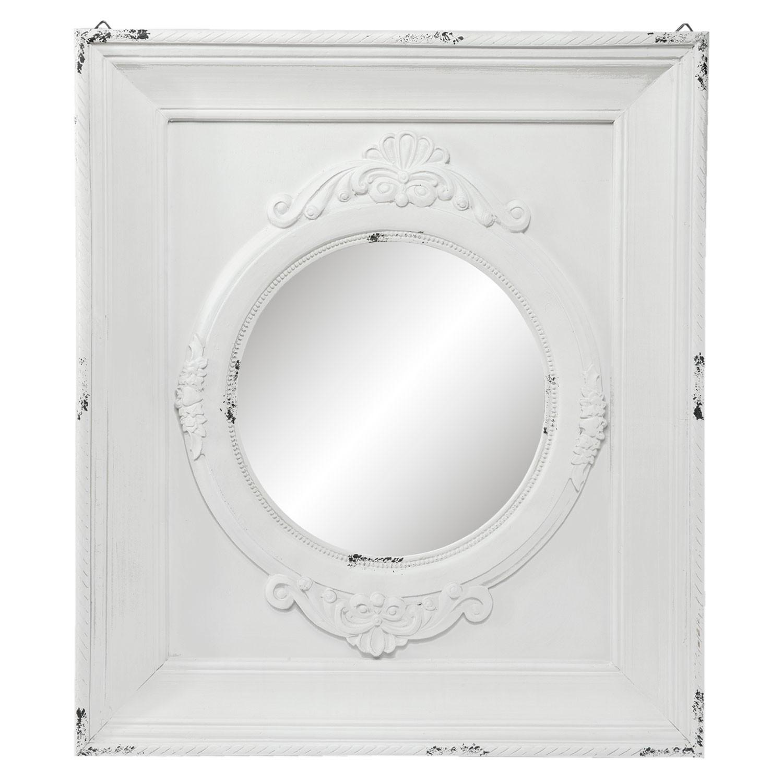 Zrcadlo ve čtvercovém bílém rámu s patinou - 62*5*72 cm