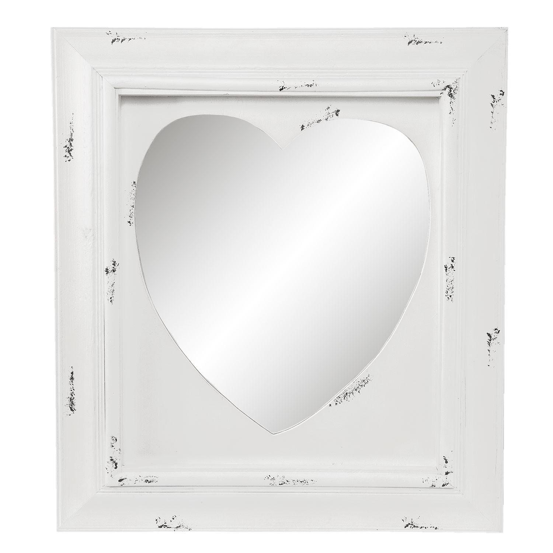 Zrcadlo ve tvaru srdce v rámu s patinou - 62*5*70 cm
