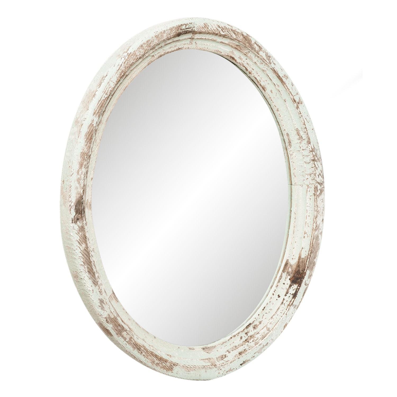 Oválné zrcadlo v bílém rámu s patinou - 54*4*66 cm