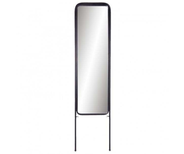 Stojací zrcadlo v černém kovovém rámu - 44*3*180 cm