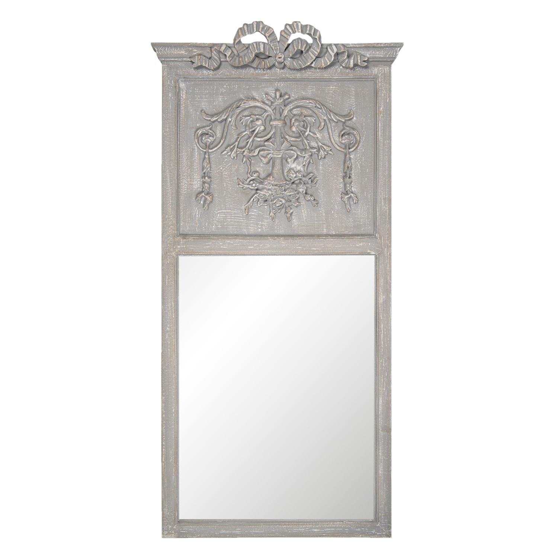 Nástěnné zrcadlo v ozdobném šedém rámu s římsou - 65*135*9 cm
