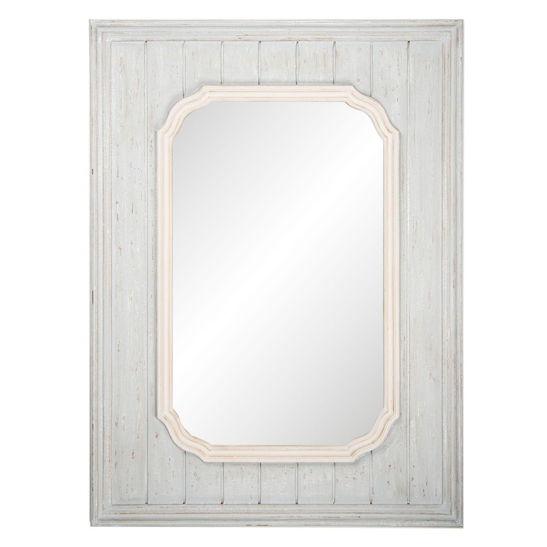 Velké nástěnné zrcadlo v šedém dřevěném rámu - 80*110*3 cm