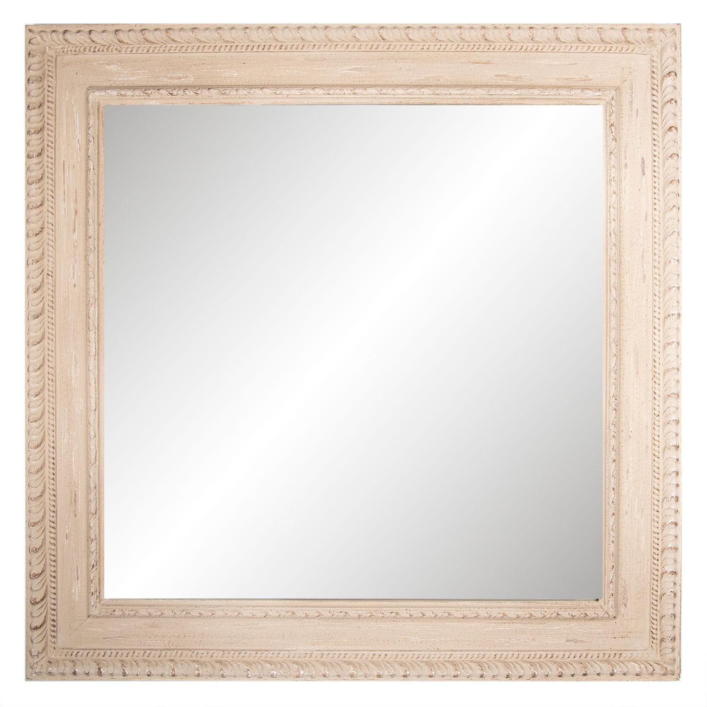 Nástěnné zrcadlo v dřevěném zdobném rámu - 100*100*4 cm
